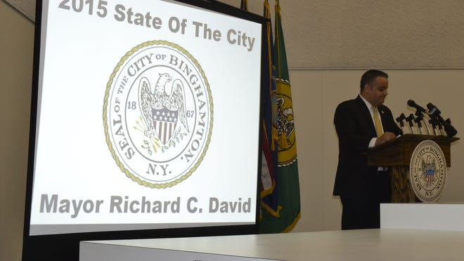 Mayor Richard David delivers the State of the City address Monday night.