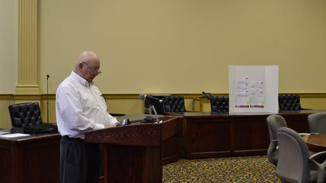 Village of Owego Mayor Kevin Millar held a press conference Wednesday at the Ronald E. Dougherty County Office Building to discuss a mailing regarding the village police department.
