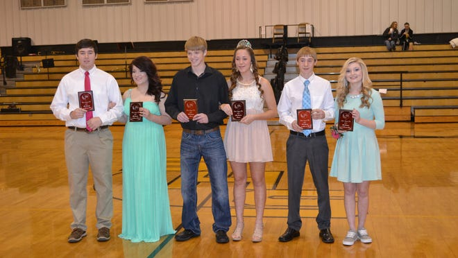 The 2015 Valentine Pageant Mr. & Miss Valentine Contest winners are, from left, Mason Kinder and Callie Marsh, first runners-up; Braden Love and Kaylea Walling, winners, and Chase Himshoot and Dagni Hall, second runners-up. The pageant at Salem High School was sponsored by Zeta Omicron Chapter of Beta Sigma Phi.