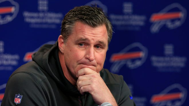 Doug Marrone addresses the media Monday at an end-of-season press conference in Orchard Park. Two days later, he opted out of his contract as head coach of the Buffalo Bills.