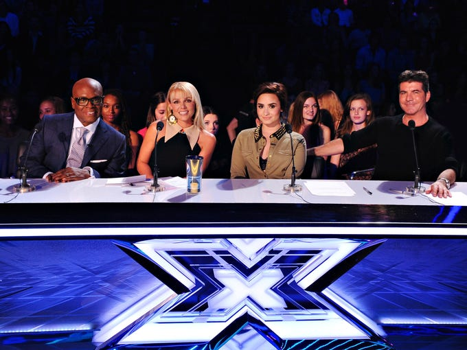 THE X FACTOR: TOP 16:  L-R: L.A. Reid, Britney Spears, Demi Lovato and Simon Cowell on THE X FACTOR, Thursday, November 1 (8:00-10:00 PM ET/PT) on FOX. CR: Ray Mickshaw / FOX.