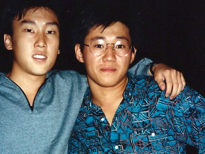 This 1988 file photo provided by Bobby Lee shows Kenneth Bae, right, and Bobby Lee together when they were freshmen at the University of Oregon. North Korea has accused Bae, an American, of trying to establish an anti-Pyongyang base in the North and sentenced him to 15 years' hard labor. Today he started his new life at what the North Koreans called a 'special prison,' although few details were available.