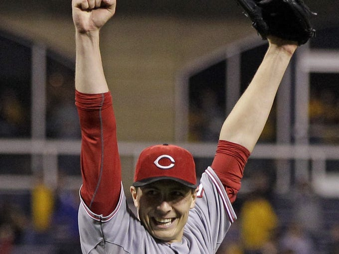 Cincinnati Reds starting pitcher Homer Bailey celebrates getting the final out of a no-hitter against the Pittsburgh Pirates. The Reds won 1-0.