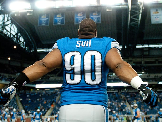 Detroit Lions defensive tackle Ndamukong Suh before the game against the Minnesota Vikings at Ford Field.
