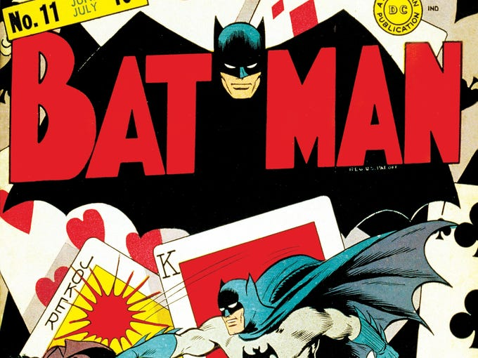 """The Joker (seen here on the cover of 1942's """"Batman"""" issue 11) has been hounding Batman and his fellow heroes of Gotham City for 72 years, first appearing in """"Batman"""" No. 1 in 1940. USA TODAY's Brian Truitt takes a look at the Clown Prince of Crime and his pop-culture antics through the years."""