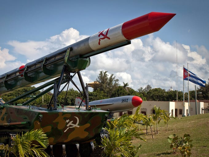 An anti-tank missile deployed during the 1962 Cuban missile crisis is displayed at Morro Cabana military park on Oct. 11 in Havana. Fifty years ago, in October 1962, Soviet leader Nikita  Khrushchev ordered a secret deployment of nuclear missiles to Cuba that were detected by U.S. spy aircraft.