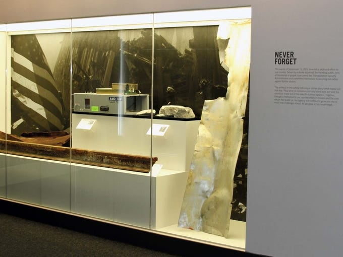 """The current exhibit at TSA headquarters, entitled """"Never Forget,"""" features artifacts related to Sept. 11, 2001."""
