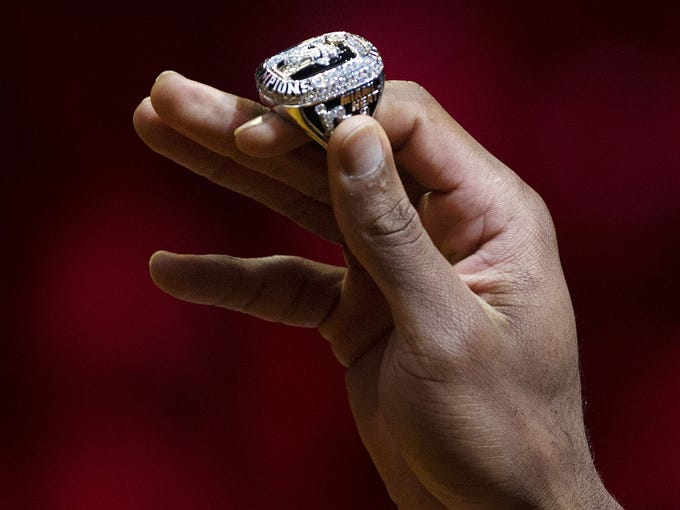 The Miami Heat's rings are 14K white and yellow gold and contain 219 diamonds.