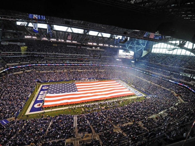 The NFL recognizes servicemen and women through the league-wide Salute to Service campaign. This is the view at Lucas Oil Stadium before the game between the Miami Dolphins and Indianapolis Colts.