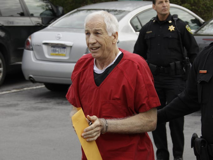 Jerry Sandusky: This summer, Sandusky was convicted of 45 criminal counts for sexually abusing 10 boys over a 15-year period. He is currently serving a 30-to-60-year sentence, meaning the 68-year-old will likely die in prison. On Wednesday, Sandusky was moved to a maximum-security state prison that includes most of Pennsylvania's death row inmates.