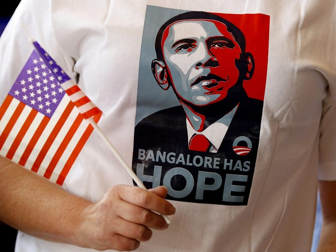 A supporter of President Obama attends a presidential election breakfast event on Nov. 7 in Bangalore, India.