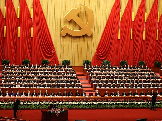 Chinese President Hu Jintao speaks during the opening session of the 18th Communist Party Congress at the Great Hall of the People on Nov. 8 in Beijing. The Communist Party Congress is selecting new leaders.