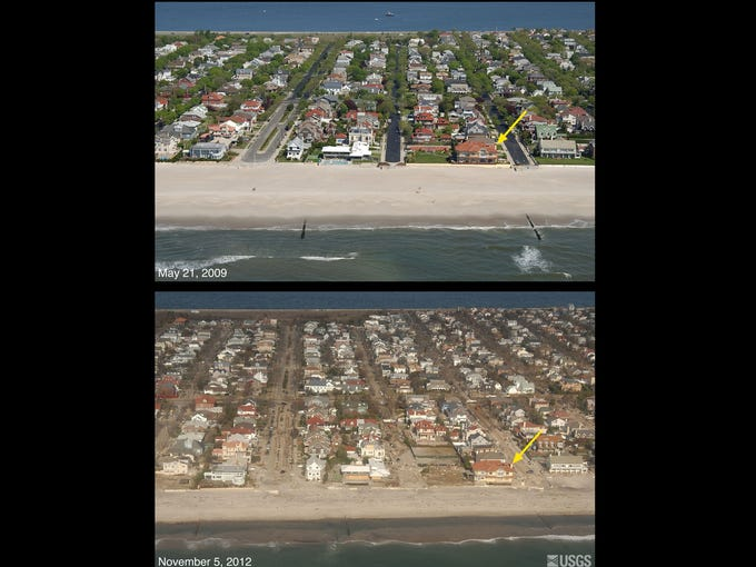 Hurricane Sandy washed sand from the beach into the streets and toward the opposite side of the island. The aerial photographs taken in May 2009 and on Nov. 5 look northwest across Rockaway Peninsula in Neponsit, N.Y. The yellow arrow in each image points to the same feature.