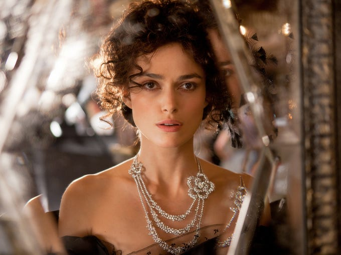 Plot: Russian aristocrat Anna (Keira Knightley), stuck in a loveless marriage to a high-ranking official (Jude Law), begins an affair with cavalry officer (Aaron Taylor-Johnson). When her husband finds out, he gives her an ultimatum: Give up your lover or never see your son again. R; 2 hours, 10 minutes. Upside: The film's blend of stylized theatricality, elaborate choreography and painterly design is a visual treat. Downside: There is no chemistry between Knightley's Anna and Johnson's Count Vronsky.