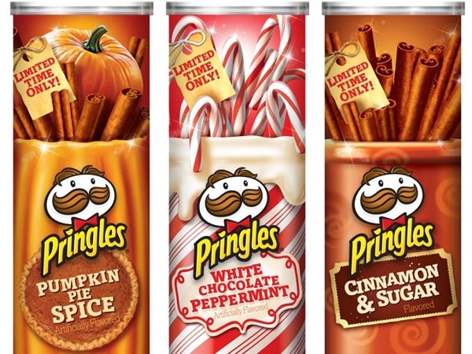To get you into the holiday spirit , and hopefully tap into your wallets,  America's food and beverage giants are again rolling out special holiday-themed flavors. But in their attempt to boost sales, many of the items and flavors being offered are getting more unique and even weirder. Here are some of the more interesting flavors: Pringles is offering holiday flavored chips: Pumpkin Pie Spice, White Chocolate Peppermint, and Cinnamon & Sugar.