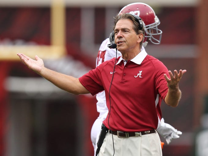 Alabama's Nick Saban: $5,476,738. Talk about precision: In March, after Saban led the Crimson Tide to the national championship for the second time in three seasons, Alabama gave him a pay increase that moved him past Texas' Mack Brown as the coach getting the most money from a public school – by about $20,000. Under an arrangement that also extended his contract by two seasons, through the 2019 campaign, Saban is getting $630,000 more from Alabama than he did last season and over $550,000 more than he had been scheduled to get this season.