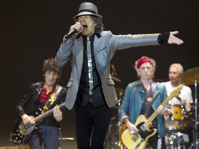 The Rolling Stones on April 3 announced they will kick off a nine-city North American leg of their 50 and Counting tour in Los Angeles at the Staples Center. The date will be announced pending the NBA/NHL playoff schedules. The tour will visit Oakland, San Jose, Las Vegas, Anaheim, Toronto, Chicago, Boston and Philadelphia.<br />Here, Ronnie Wood, left, Mick Jagger, Keith Richards and Charlie Watts of The Rolling Stones perform at the O2 arena in London on Nov. 25. The band played five gigs to celebrate their 50th anniversary, including two shows at O2 and three more in the USA.