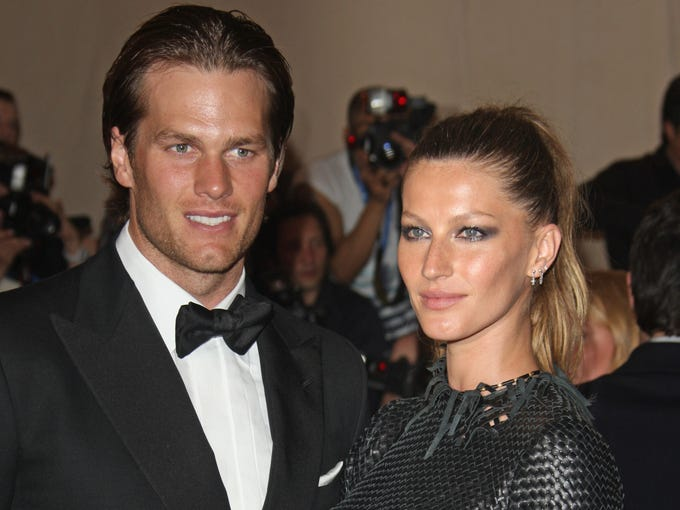 In this May 3, 2010 file photo, Tom Brady, left, and Gisele Bundchen arrives at the Metropolitan Museum of Art Costume Institute gala, in New York.