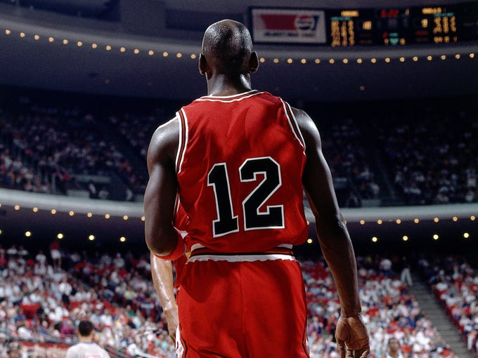 Michael Jordan wearing a No. 12 jersey the only time in his career against the Orlando Magic.