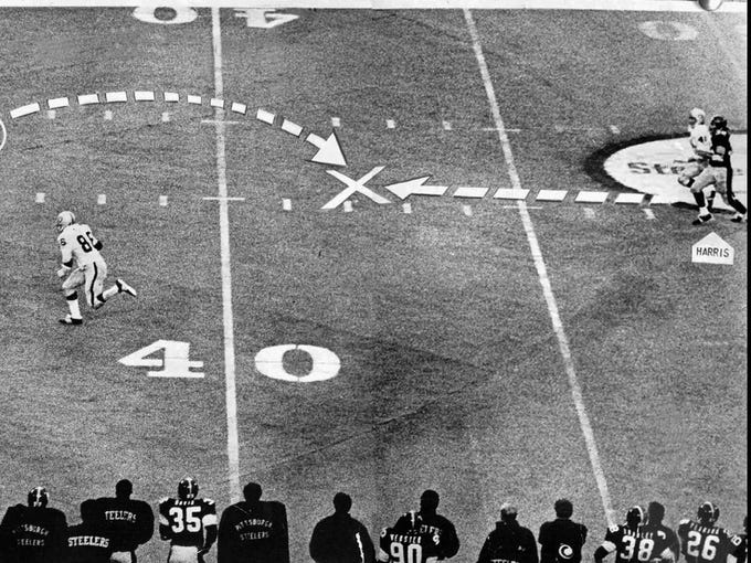 A collision between the Raiders' Jack Tatum and the Steelers' Frenchy Fuqua sends the ball flying back toward Franco Harris at Three Rivers Stadium on Dec. 23, 1972. The  Immaculate Reception created the single most improbable finish ever to an NFL playoff game, the play remains so miraculous, so magical, so mythical that even its principal participants still debate what actually happened.