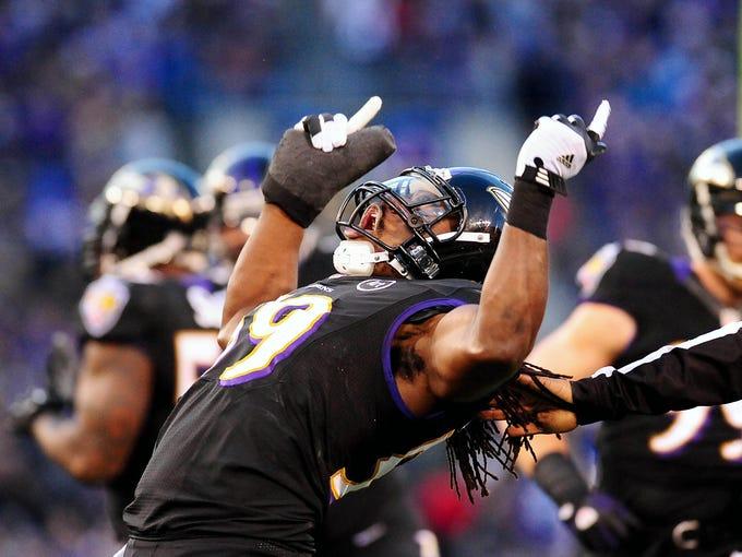 Ravens linebacker Dannell Ellerbe (59) celebrates during the game against the Giants.