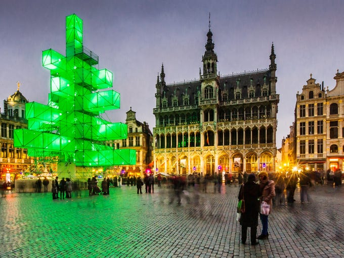 A light installation replaces the traditional Christmas tree at the Grand Place in Brussels, Dec. 1, 2012.