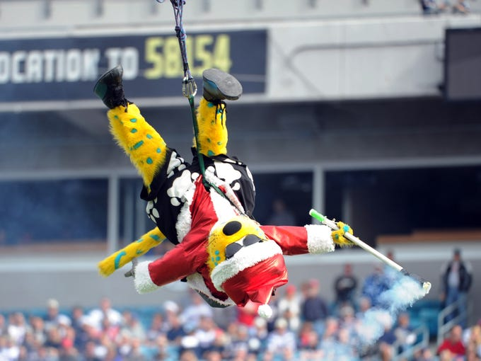 (11) Jacksonville Jaguars mascot Jackson De Ville is by far the most EXTREME mascot Santa, but he might want to focus on his holiday spirit.