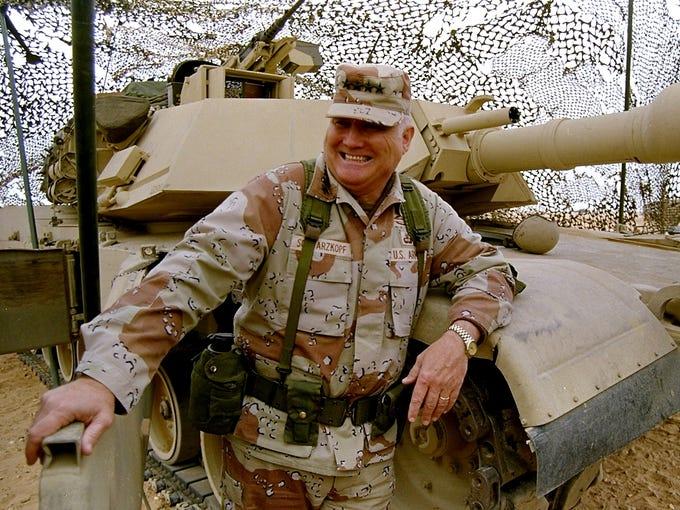 U.S. Army Gen. H. Norman Schwarzkopf stands near a tank during Operation Desert Storm on Jan. 12, 1991, in Saudi Arabia. Schwarzkopf, 78, died on Dec. 27.