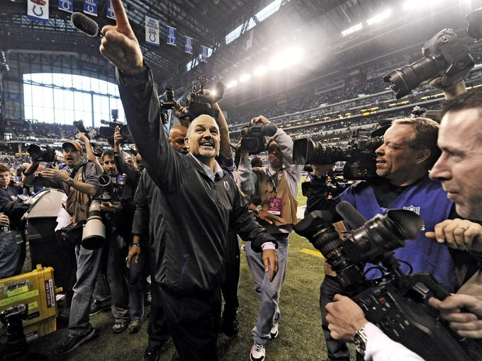 Indianapolis Colts head coach Chuck Pagano leaves the field after the game against the Houston Texans at Lucas Oil Stadium.