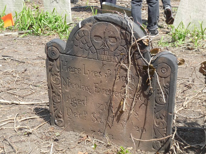 A headstone at Prospect Cemetery in Jamaica. One of the city's oldest cemeteries, it dates to 1668.