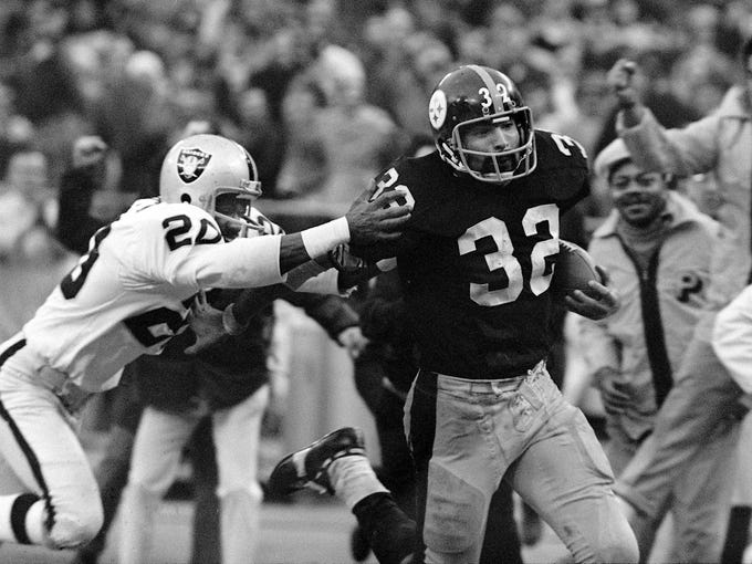"""1972 AFC divisional playoffs. Franco Harris. """"The Immaculate Reception."""" Enough said."""