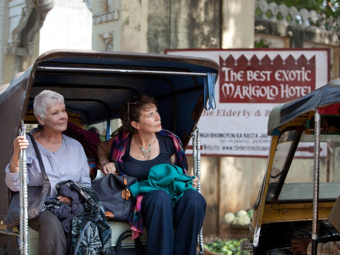 Judi Dench, left, and Celia Imrie in a scene from Golden Globe-nominated 'The Best Exotic Marigold Hotel,' which was filmed on location in Rajasthan, India.