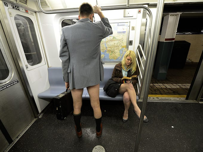 People without pants ride the subway during the 2013 No Pants Subway Ride event on Jan. 13 in New York City. The global pants-free event began in 2002 in New York and has spread to other cities around the world.