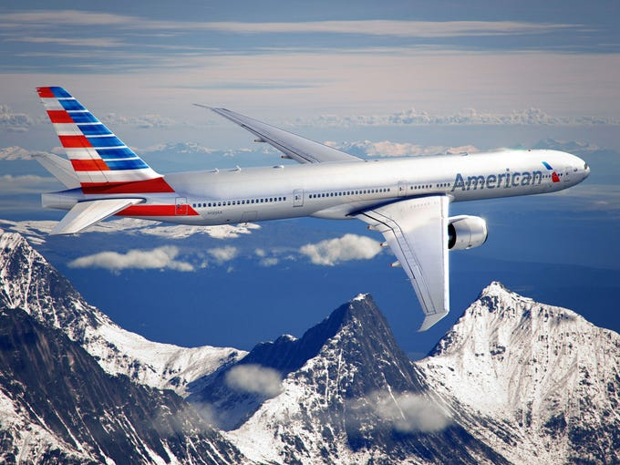 An image provided by American Airlines shows what its Boeing 777-300 jets will look like once they get the carrier's new paint job.