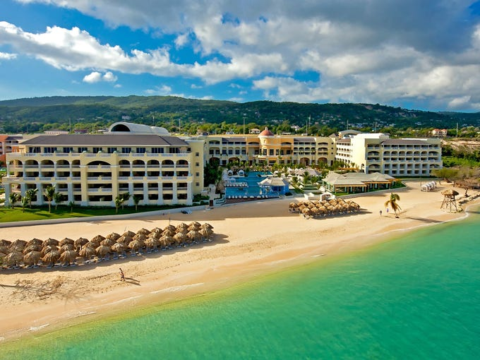 A view of the beachfront IBEROSTAR Grand Hotel Rose Hall outside  Montego Bay. It''s the adult component of a three-resort complex.