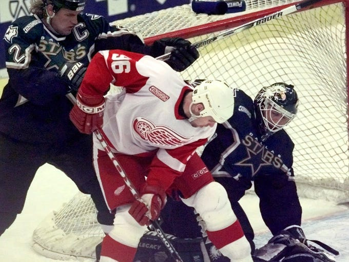 Retired Detroit Red Wings forward Tomas Holmstrom made his living in front of the opposition net, doing his best to distract goalies such as Ed Belfour.