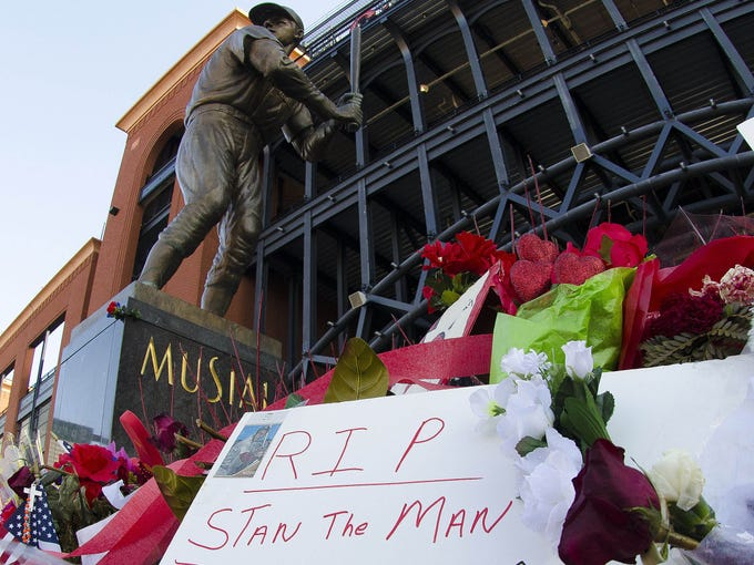 Fans place signs and memorabilia at the Stan Musial statue in front of Busch Stadium. The St. Louis Cardinals hall of famer passed away on Jan. 19 at the age of 92.