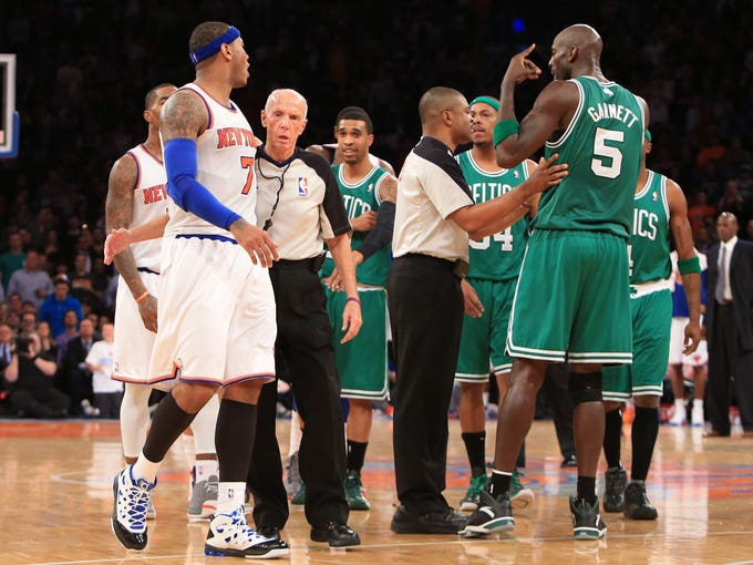 Let's hope Knicks forward Carmelo Anthony, left, and Celtics center Kevin Garnett don't have to be separated by referees when they join forces on the Eastern Conference All-Star team. Flip through this gallery to see everyone who made it.