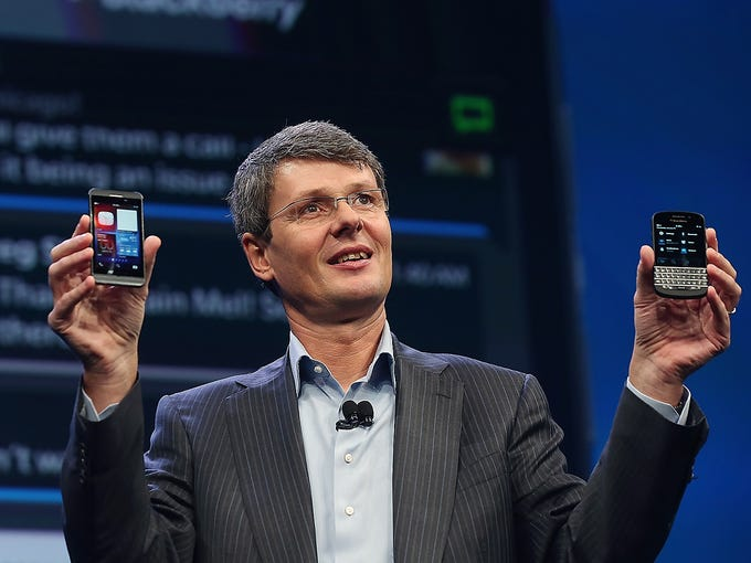 Thorsten Heins, CEO of BlackBerry (formerly Research in Motion), introduces the company's BlackBerry 10 smartphones at an event on Jan. 30 at Pier 36 in New York City. The new devices feature multimedia, apps and touchscreen features.