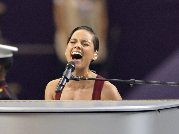 Recording artist Alicia Keys sings the national anthem prior to Super Bowl XLVII between the San Francisco 49ers and the Baltimore Ravens at the Mercedes-Benz Superdome.