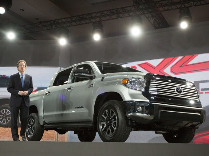 Bill Fay, Toyota's group vice president and general manager, introduces the 2014 Tundra pickup at the Chicago Auto Show.