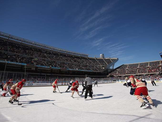 The Notre Dame Fighting Irish take on the Miami Redhawks during the Hockey City Classic at Soldier Field on Saturday in the first of two outdoor games played at the stadium.