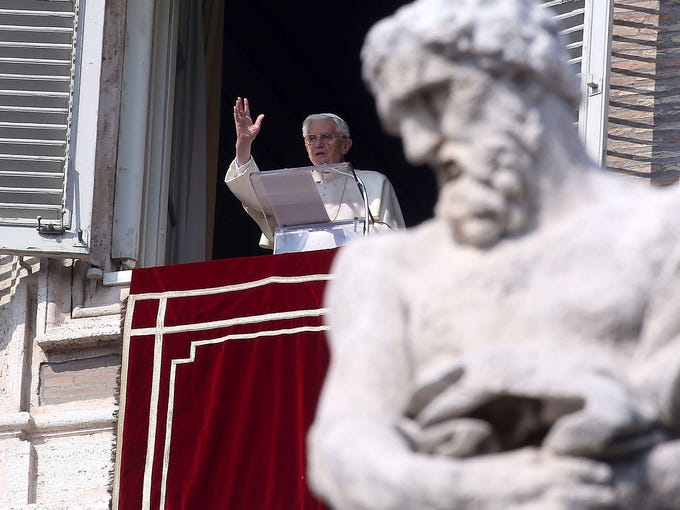 Pope Benedict XVI delivers his Angelus Blessing from the window of his private studio overlooking St. Peter's Square on Feb. 17 in Vatican City. The pontiff will hold his last weekly public audience on Feb. 27 at St. Peter's Square after announcing his resignation last week, effective Feb. 28.
