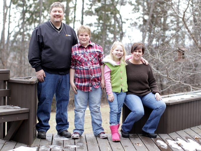The Hegseth family of Northfield, Minn., takes part in the Family Fitness Challenge. From left: Tim Hegseth, 47, Sam Hegseth, 11, Ella Hegseth, 7, and Jennifer Hegseth, 46.