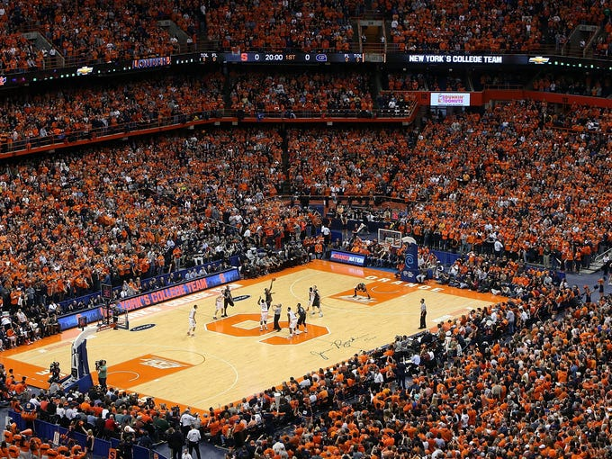 A general view of the Carrier Dome at the opening tip during the game between the Syracuse Orange and the Georgetown Hoyas on Saturday. More than 35,000 attended.