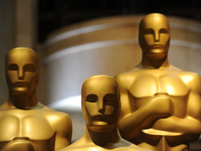Oscar statues are viewed in preparation one day before the 85th Academy Awards on Feb. 23 in Hollywood.