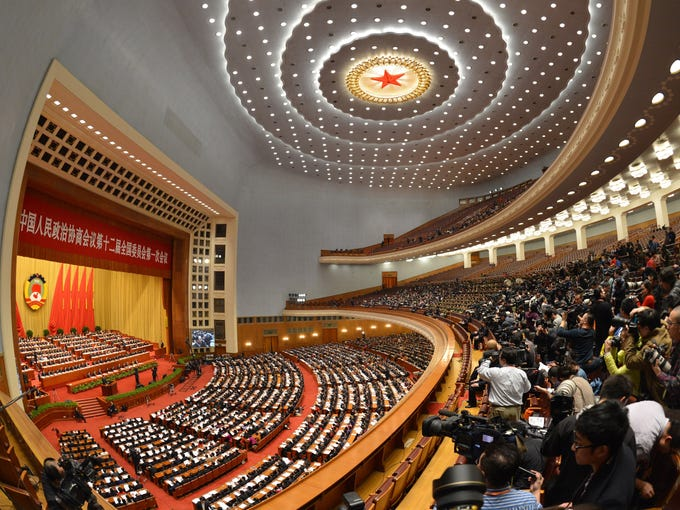 A view of the Great Hall of the People during the opening session of the Chinese People's Political Consultative Conference (CPPCC) in Beijing on March 3.