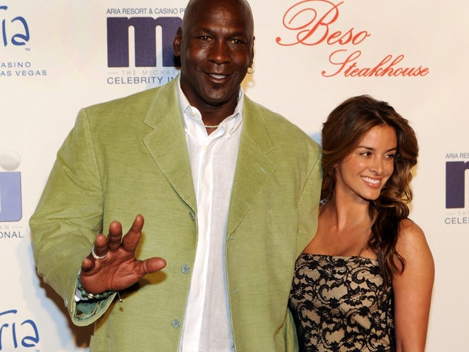 Michael Jordan and his fiancee Yvette Prieto arrive for a celebrity dinner at Beso inside Crystals in City Center in Las Vegas. The former NBA star and Charlotte Bobcats owner appeared at the main Palm Beach County courthouse Thursday morning, March 7, 2013 to apply for a marriage license, according to Kathy Burstein, a spokeswoman for the clerk's office.