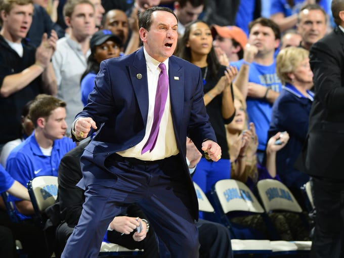 Duke Blue Devils head coach Mike Kyzyzewski reacts in the second half. The Blue Devils defeated the Tar Heels 69-53 at the Dean E. Smith Center.