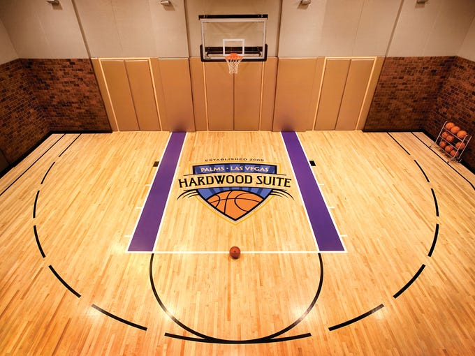 For $25,000 a night, basketball lovers can book the Palms Casino Resort's 10,000-square-foot Hardwood Suite that includes a half-court.